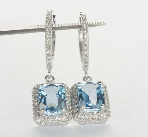 Swiss Blue Topaz Diamond Drop Earrings BT0493