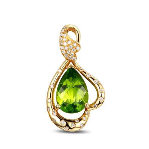 Green Peridot Diamond Pendant Gemstone Gold GP9402