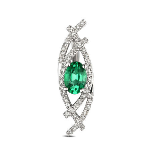 Natural Oval Emerald  Pendant with Diamonds EM9392