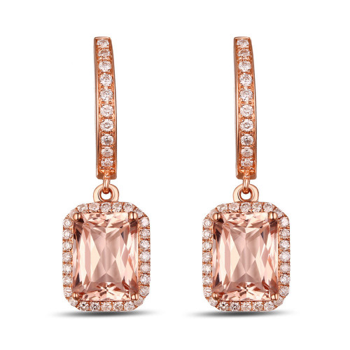 Diamond Drop Dangle Earrings with Natural Morganite DD4949