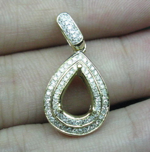 14K Gold Natural Diamond Pendant Setting