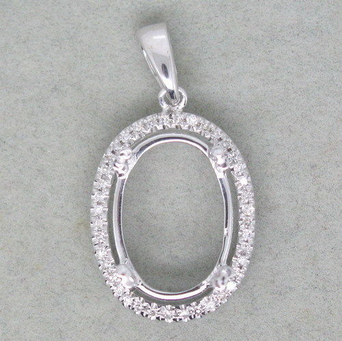 Oval 14K Gold Natural Diamond Pendant Setting