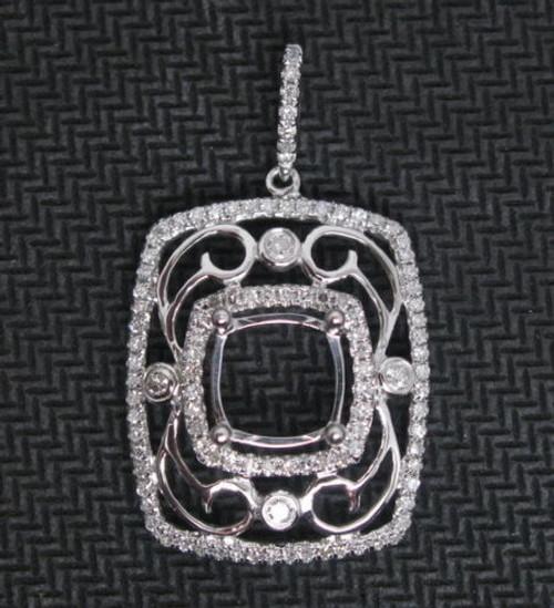 Cushion Semi Mount 14K Gold Natural Diamond Pendant Setting
