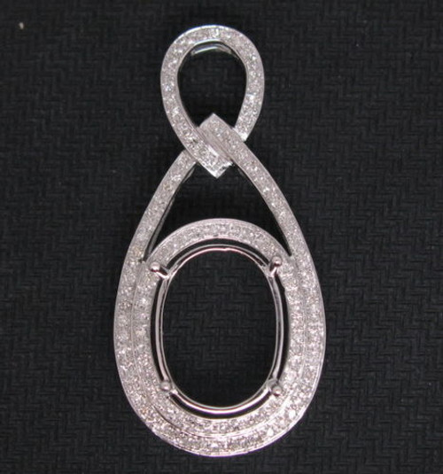Oval 14K Gold Diamond Semi Mount Pendant