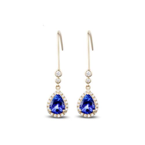 Violet Blue Tanzanite Diamond Drop Earrings TD8484