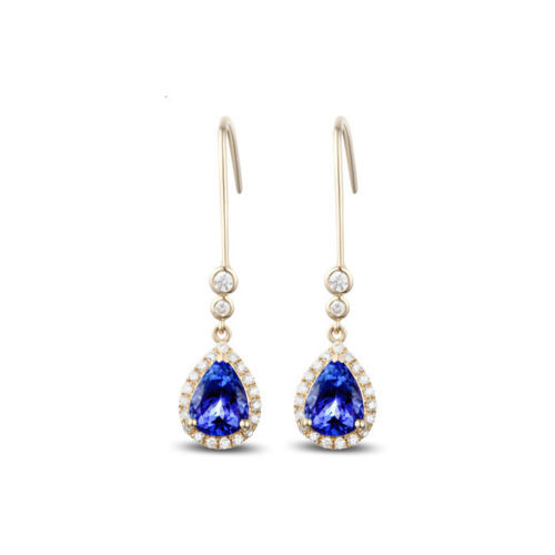 Violet Blue Tanzanite Diamond Drop Earrings TD8484