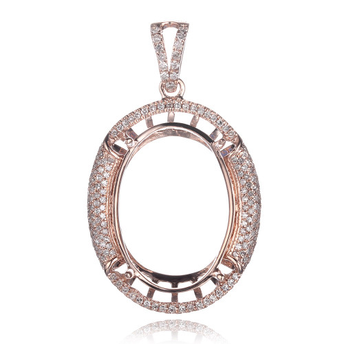 Oval 14K Diamond Semi Mount Pendant