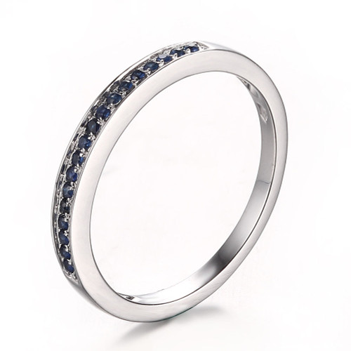 Sapphires Wedding Band Round   SWB484