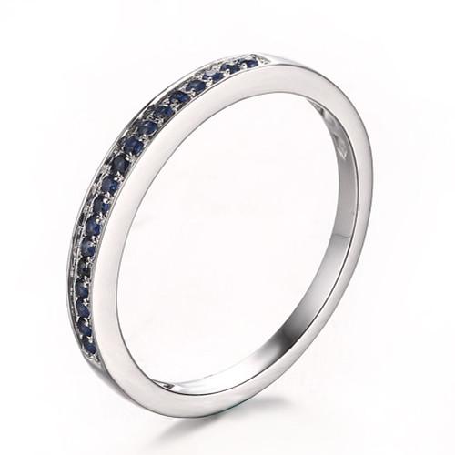 Sapphires Wedding Band Round   SWB484
