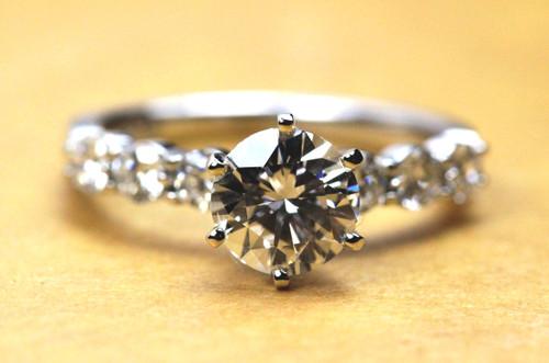 Floating Diamond Engagement Ring GIA 1 Carat F SI1