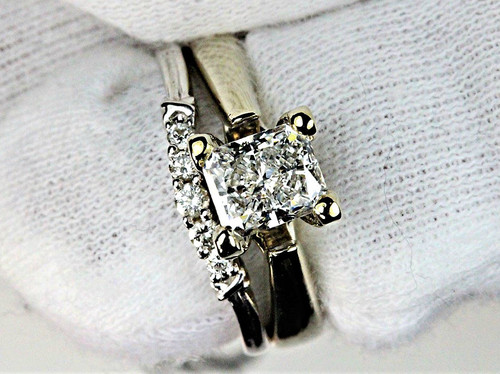 Unique Engagement Ring and Band - GIA Certified Radiant Cut 1.01ct F SI2