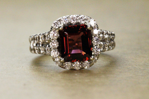 Unique Rubellite Engagement Ring