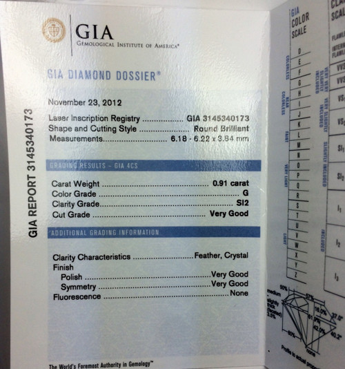 Round Brilliant Cut GIA certified .9ct SI2 G VG