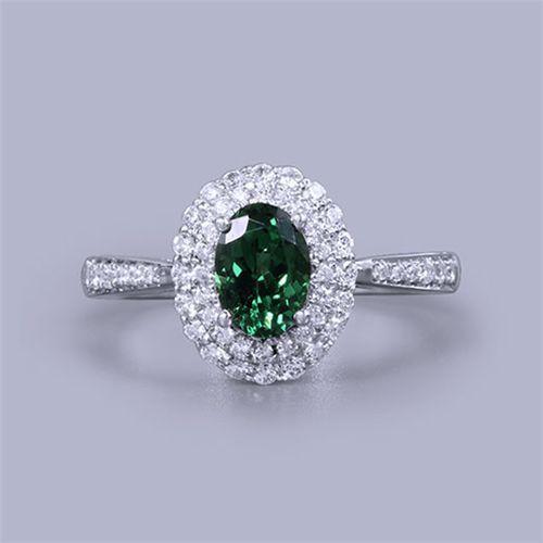 Oval Green Tsavorite Gemstone Diamond Ring