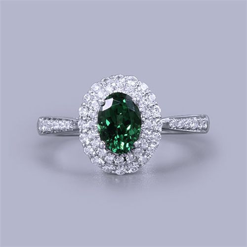 Oval Green Tsavorite Gemstone Diamond Ring