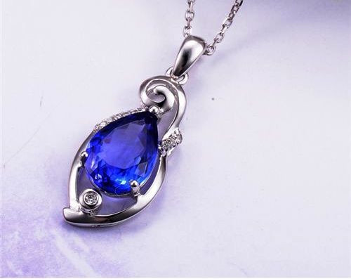 Natural Violet Blue Tanzanite Gemstone Diamond Pendant  BT3932