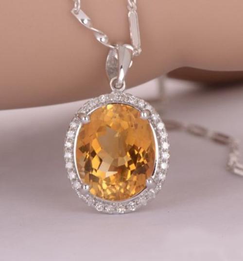 Yellow Citrine & Diamond Pendant   CDP3920