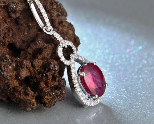 Oval Red Ruby Diamond Pendant