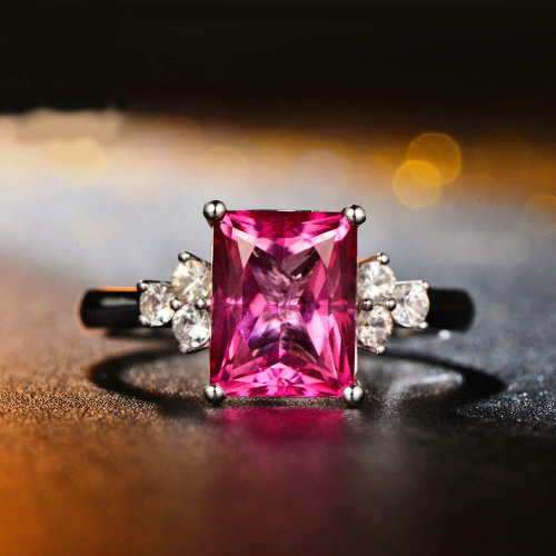 Emerald Cut Pink Topaz & Diamond Ring TT9923