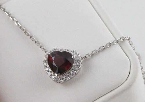 Natural Red Garnet & Diamond Pendant GPD9392