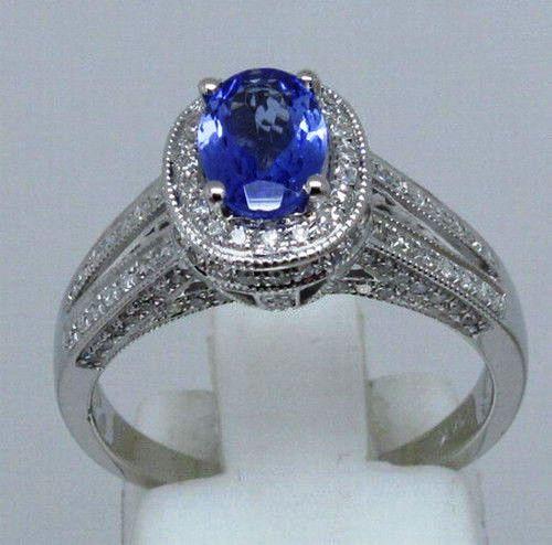 White Gold Tanzanite & Diamond Ring  TAN8884