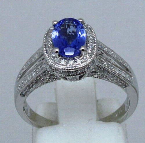 White Gold Tanzanite & Diamond Ring  TAN8884