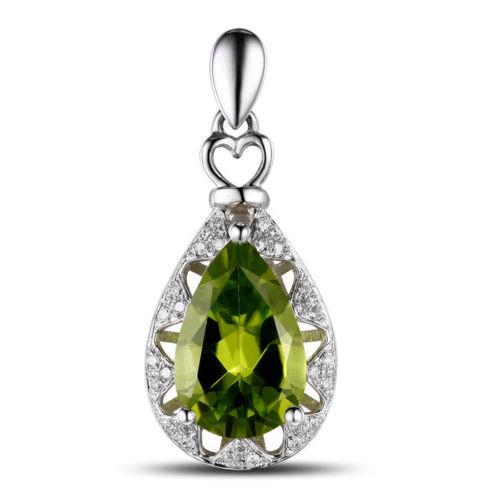 Pear Cut Peridot & Diamond Pendant  PD2883
