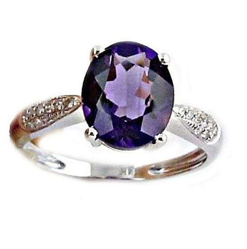 Purple Amethyst & Diamond Ring  AM3820