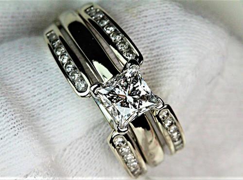 Leo Diamond Engagement Ring Princess Cut VS1 H & Matching Wrap
