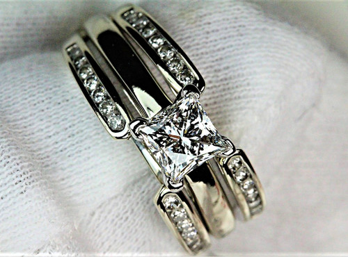 Leo Diamond Engagement Ring Princess Cut VS1 H & Matching Wrap