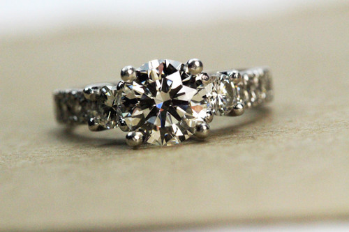 Engagement Ring Platinum - GIA Certified 1.32ct Excellent Cut H VS2
