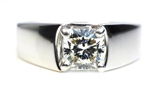 Radiant Cut Diamond Engagement Ring GIA Certified 1.23 Carat VVS2 H Ideal Cut