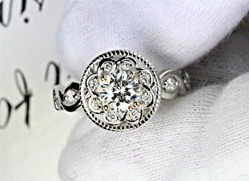 Antique Halo Engagement Ring - GIA Leo Diamond