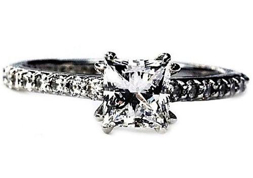 Unique Ideal Princess Cut Diamond Ring - E VS1 GIA Certified IGI Appraised