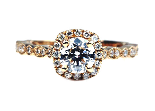 Unique Rose Gold Diamond Engagement Ring with GIA certified Excellent Cut Diamond