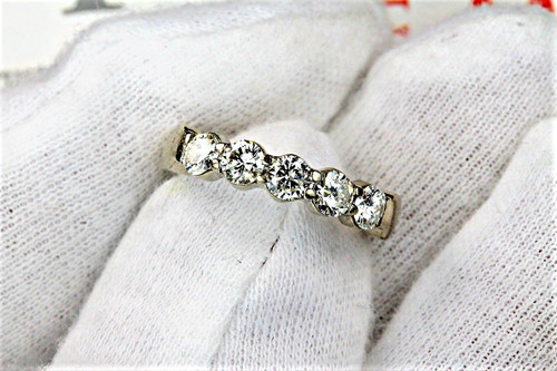 White Gold Wedding Band 1 Carat Diamonds