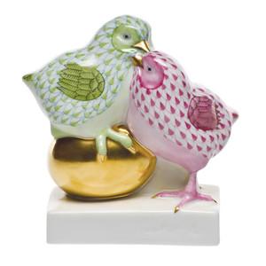 Pair of Chicks on Golden Egg
