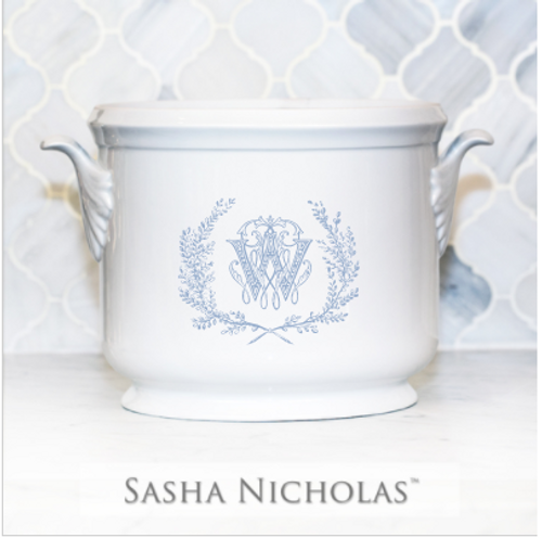 Lamb-Wood Champagne Bucket with Couture Wreath