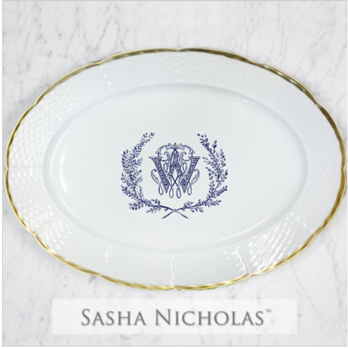 Lamb-Wood 24K Gold Oval Platter With Couture Wreath