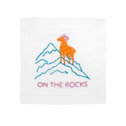 August Morgan Set of 4 Cocktail Napkins   On the Rocks