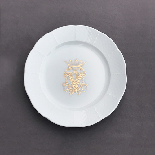 Weave Salad Plate with Gold Victoria Crown