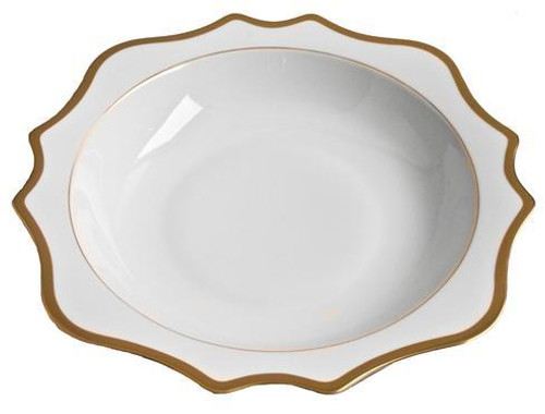 """Antique White with Gold Salad Serving Bowl 13"""""""