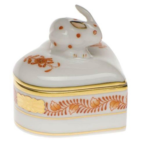 Chinese Bouquet Rust Heart Box W/Bunny