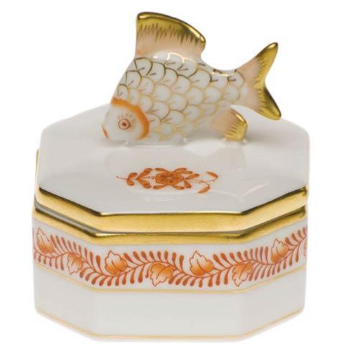 Chinese Bouquet Rust Petite Octagonal Box - Fish