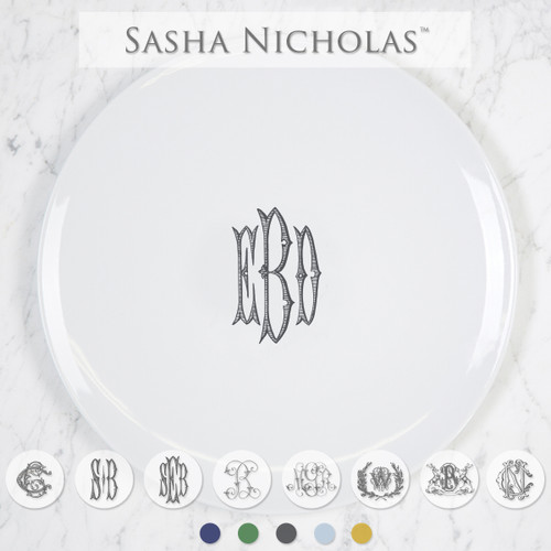 Sasha Nicholas Coup inscription Porcelain  Imagine Dinner Plate Dish Monogram monogrammed custom  Wedding Bridal Gift Registry