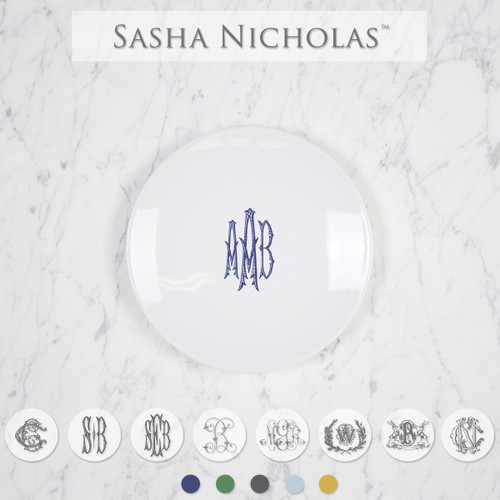 Sasha Nicholas Coup Contemporary Porcelain  Imagine Party Plate Dish Monogram monogrammed custom  Wedding Bridal Gift Registry Tablesetting