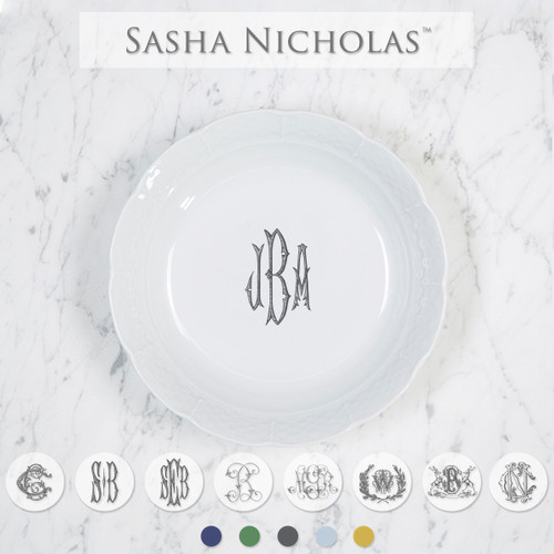 A beautiful addition to your dinnerware collection and to adorn your tablescapes with. It makes the perfect gift for your wedding registry. Choose from their signature font styles or use a custom monogram or crest of your choice! | Sasha Nicholas's white porcelain cereal bowl