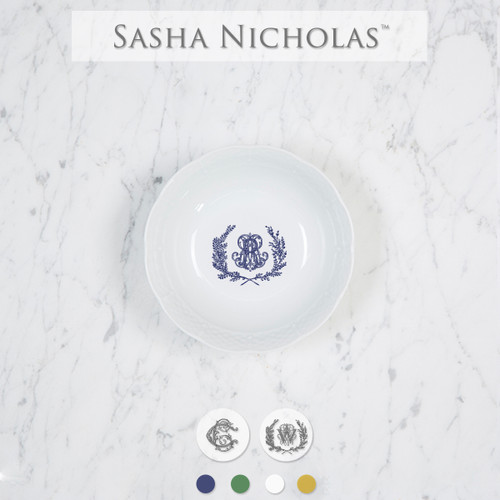 A perfect addition to your dinnerware collection and to set your tablescapes with.  It makes a great small gift for your wedding registry. The navy couture is such a classic.   Sasha Nicholas's white porcelain petite bowl