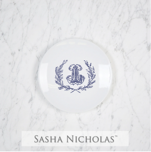 Sasha Nicholas Coup Contemporary Porcelain  Imagine Party Plate Dish Monogram monogrammed custom  Wedding Bridal Gift Registry