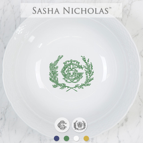 A beautiful addition to your dinnerware collection and to adorn your tablescapes with. It makes the perfect gift for your wedding registry with the included inscription on bottom. Choose from their signature font styles or use a custom monogram or crest of your choice! | Sasha Nicholas's white porcelain large serving bowl